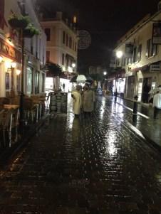 Evening walk in the rain
