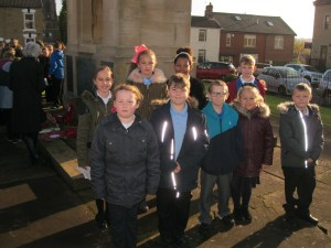 Members of the School Council after the Remembrance service in Greasbrough.