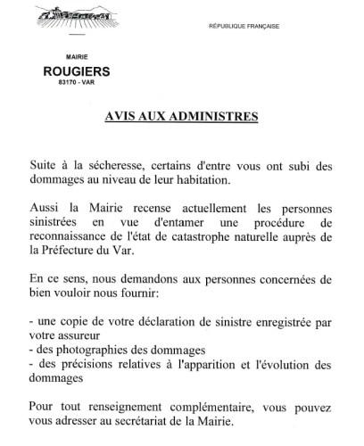 Infos Mairie - Avis aux administrés