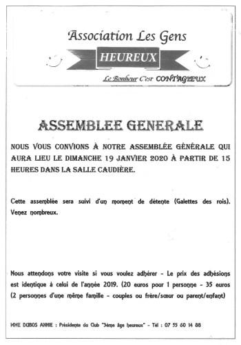 """Assemblée Générale de l'association """" les gens heureux """""""
