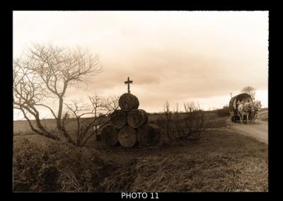 roulotte, calvaire, hiver