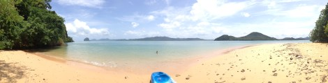 Pano of the kayak and beach
