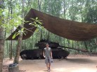 Jon with a destroyed American tank in Chu Chi