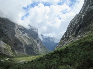 Driving down into the valley that leads to Milford Sound