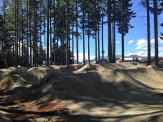 Bike Park in Wanaka on top of the hill overlooking town, lake and frisbee golf course