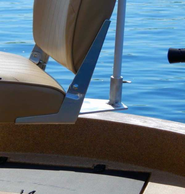 The sunshade attaches to the seat by means of a custom mount