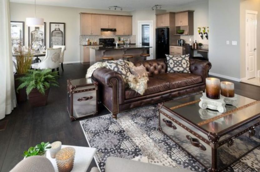 Cool brown and blue living room designs (16)