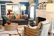 Cool brown and blue living room designs (28)