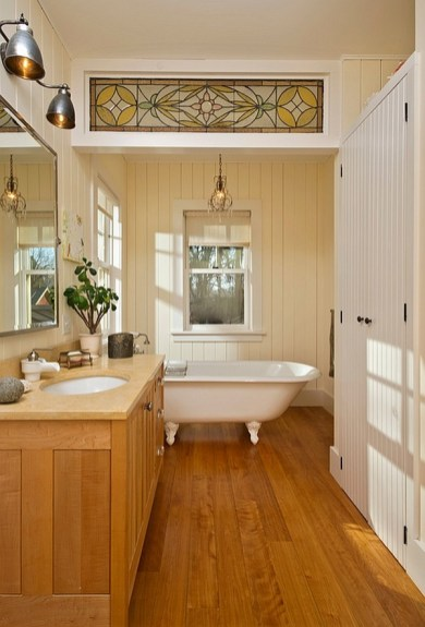 Cozy and relaxing farmhouse bathroom designs (29)