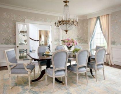 30 Elegant Feminine Dining Room Design Ideas - Round Decor