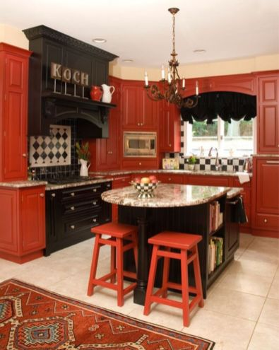 Amazing black and red kitchen decor 42