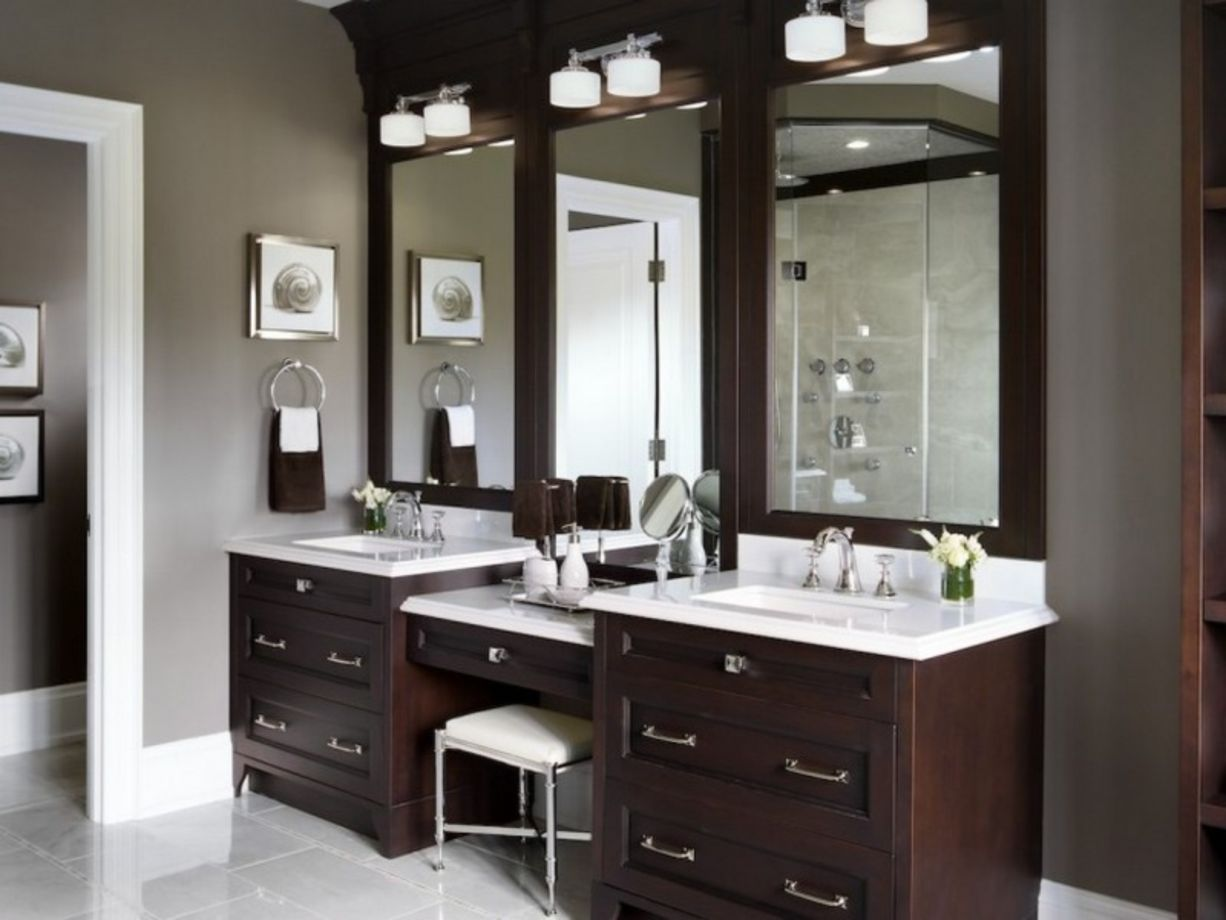 Bathroom vanity ideas with makeup station 24