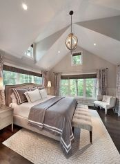 Beautiful bedroom design ideas using grey carpet 075