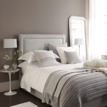Beautiful bedroom design ideas using grey carpet 084
