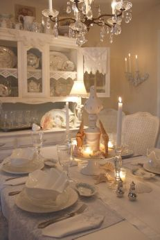 Beautiful shabby chic dining room decor ideas 25