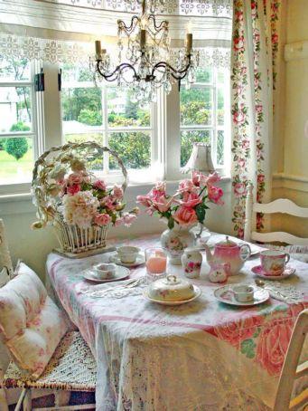 Beautiful shabby chic dining room decor ideas 32