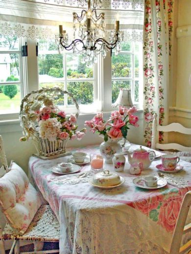 Beautiful shabby chic dining room decor ideas 32