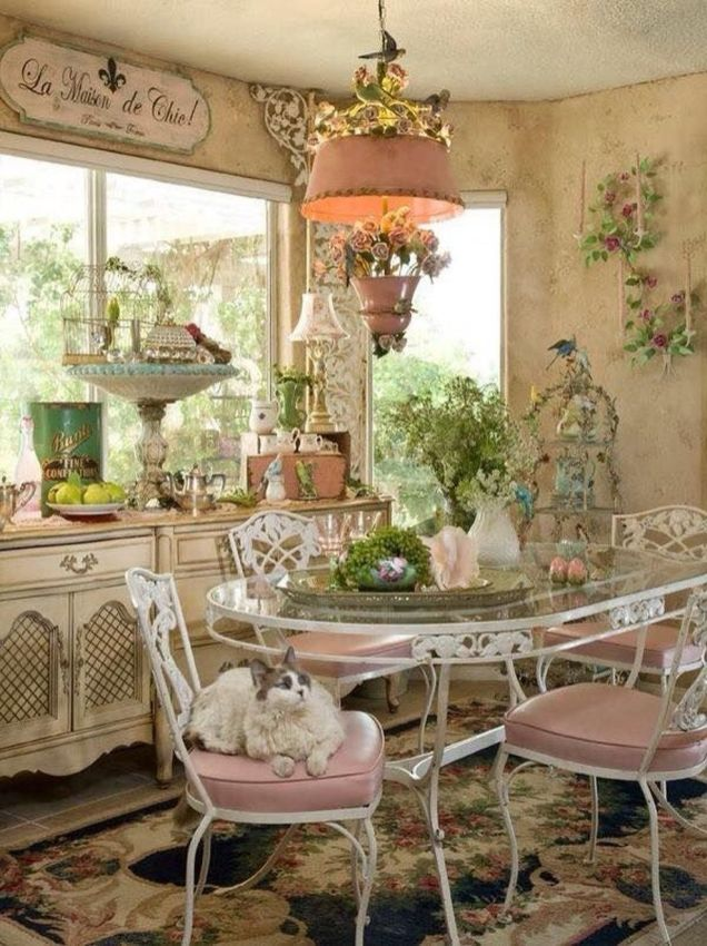 49 Beautiful Shabby Chic Dining Room Decor Ideas Round Decor