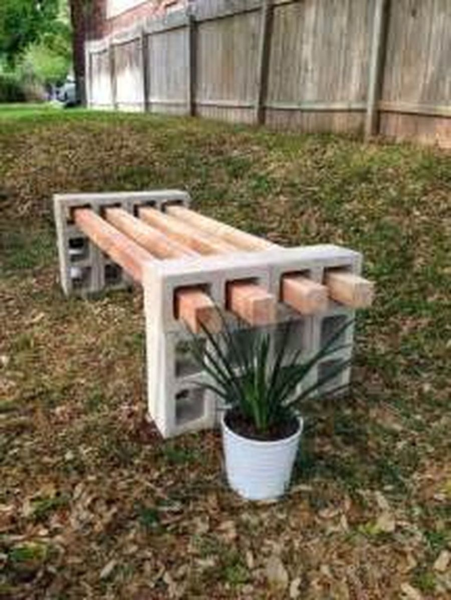 Cinder block furniture backyard 03