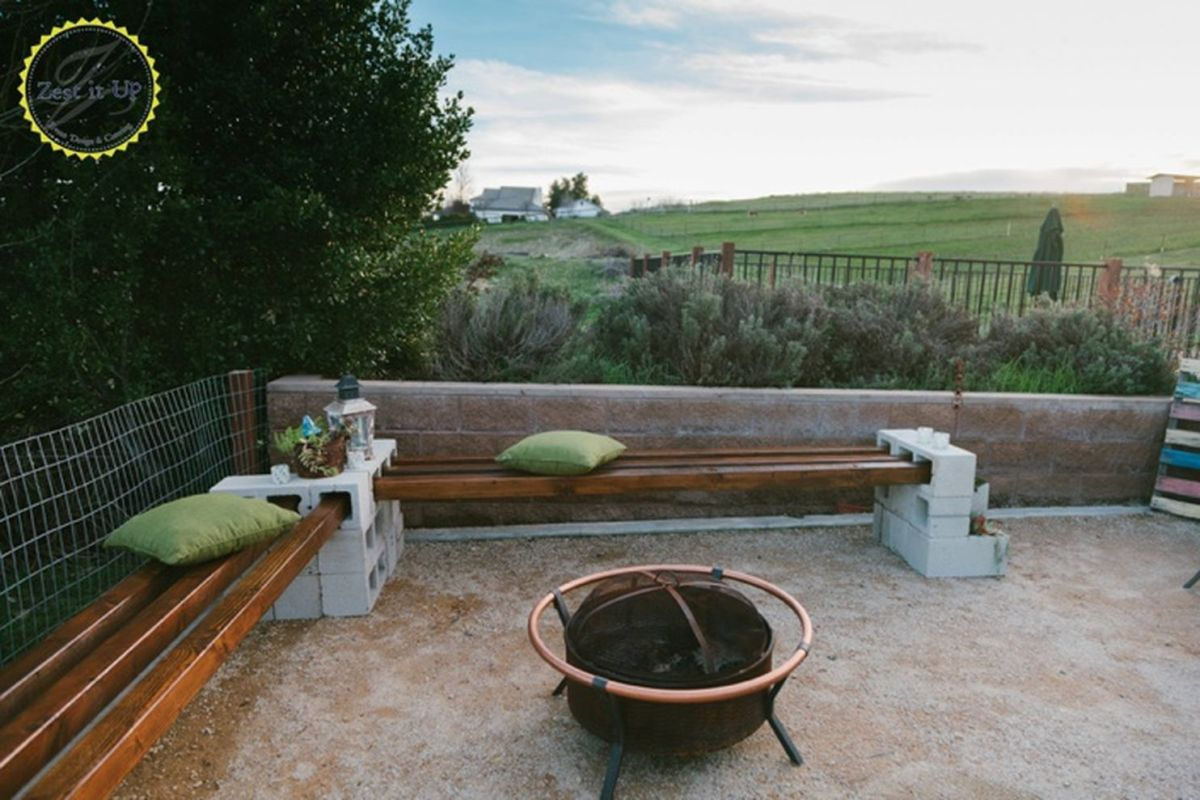 Cinder block furniture backyard 17