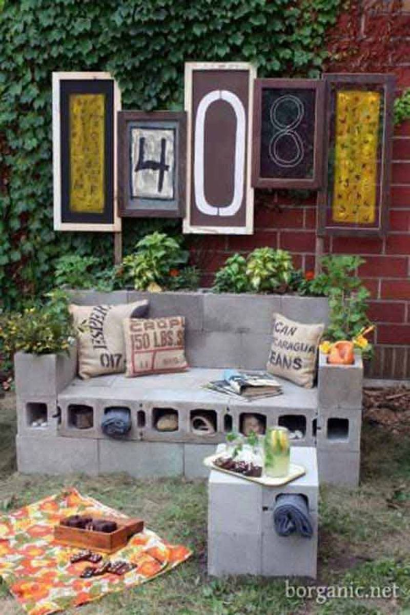Cinder block furniture backyard 21
