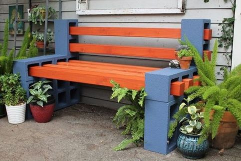 Cinder block furniture backyard 22