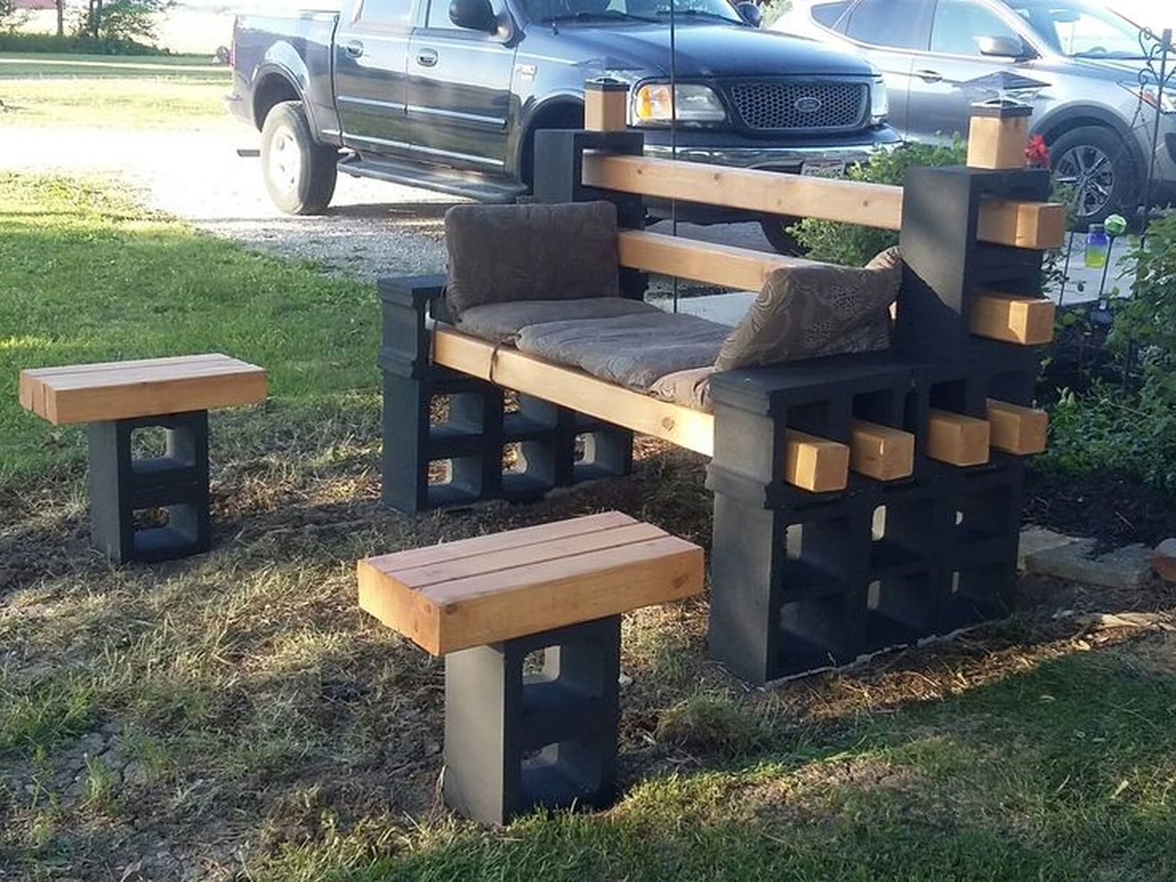 Cinder block furniture backyard 23