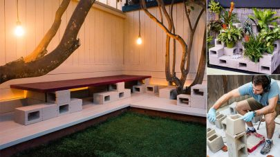 Cinder block furniture backyard 31