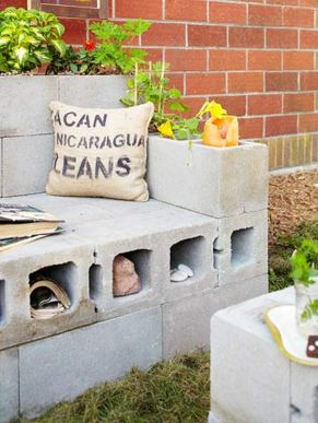 Cinder block furniture backyard 37