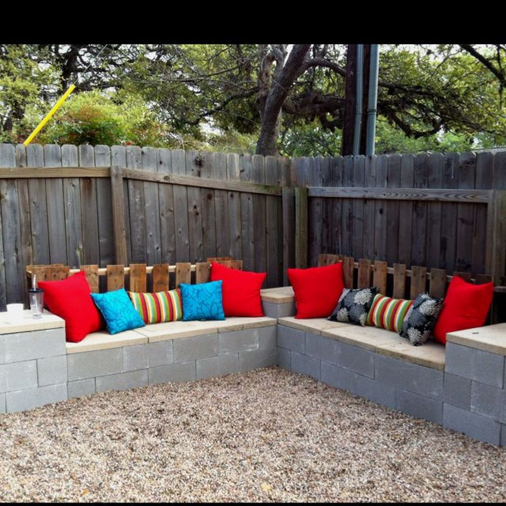 Cinder block furniture backyard 40