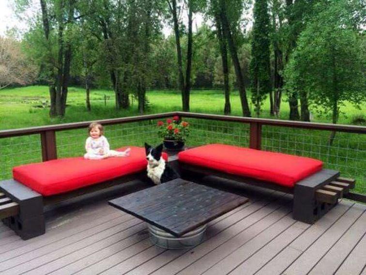 Cinder block furniture backyard 49