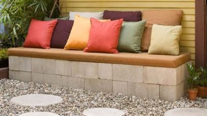 Cinder block furniture backyard 54