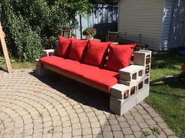 Cinder block furniture backyard 56