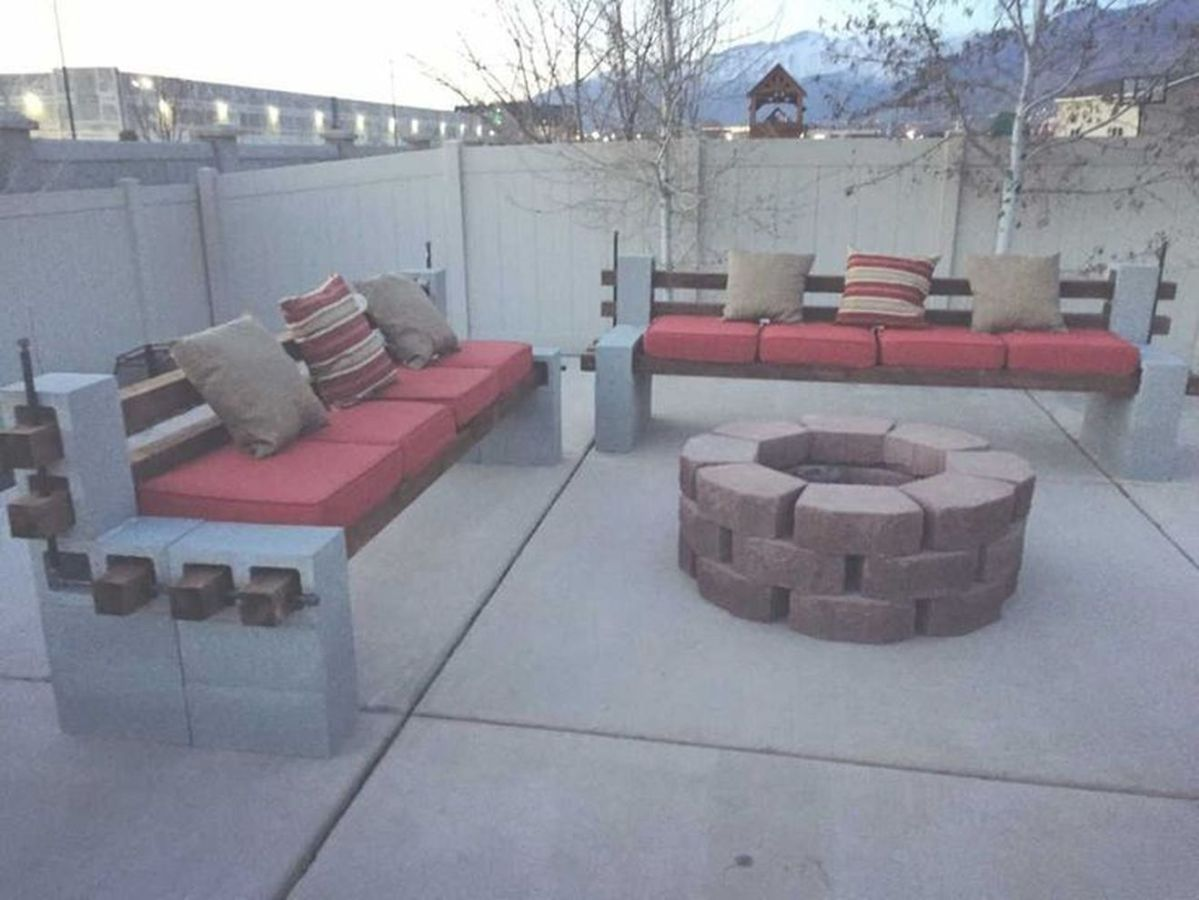 Cinder block furniture backyard 59