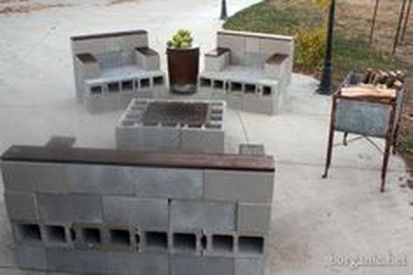 Cinder block furniture backyard 63