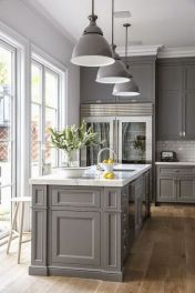 Cool grey kitchen cabinet ideas 18