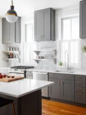 Cool grey kitchen cabinet ideas 25