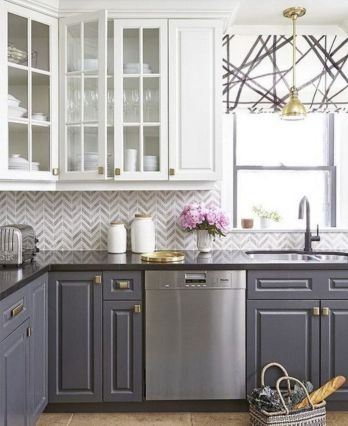Cool grey kitchen cabinet ideas 34