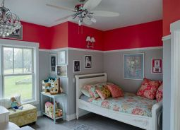 Cute bedroom design ideas with pink and green walls 19