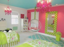 Cute bedroom design ideas with pink and green walls 54