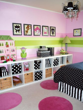 Cute bedroom design ideas with pink and green walls 59