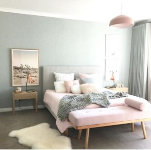 Cute bedroom design ideas with pink and green walls 65