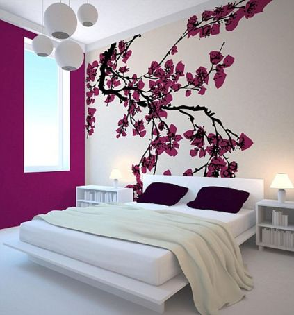 Cute bedroom design ideas with pink and green walls 67