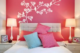 Cute bedroom design ideas with pink and green walls 70