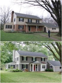 Exterior paint color ideas with red brick 50