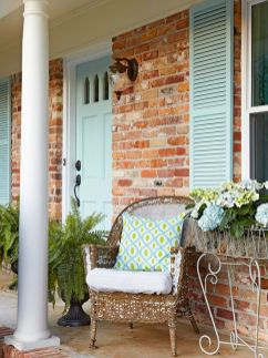 Exterior paint color ideas with red brick 51