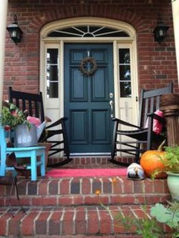 Exterior paint color ideas with red brick 53