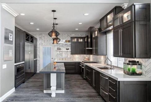Gray color kitchen cabinets 22
