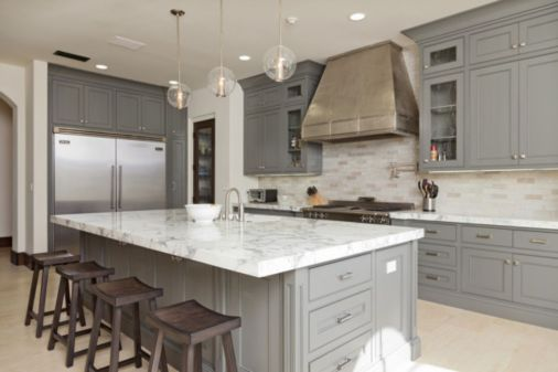 Gray color kitchen cabinets 54