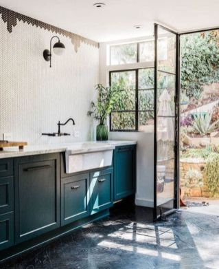 Kitchens design ideas with green walls 20
